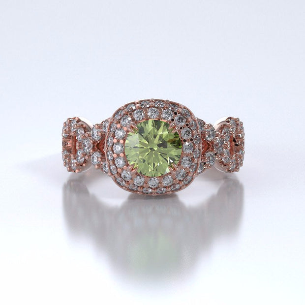 Memorial Jewelry - Diamants Entourant Ring in 18k Rose Gold with Peridot and Diamonds - Front