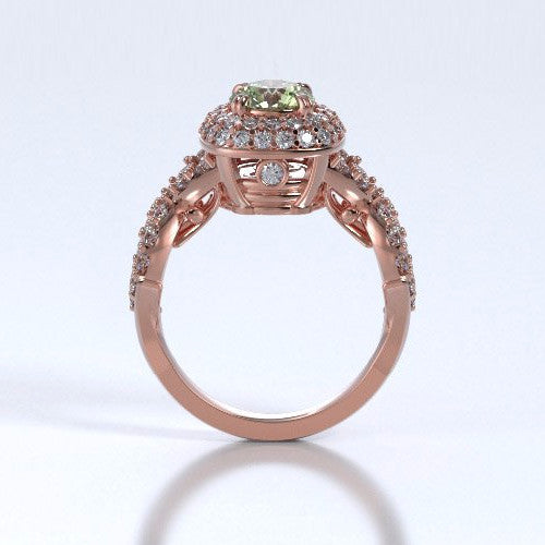 Memorial Jewelry - Diamants Entourant Ring in 18k Rose Gold with Peridot and Diamonds - Profile