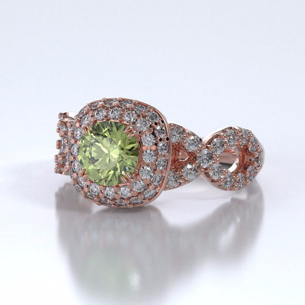 Memorial Jewelry - Diamants Entourant Ring in 18k Rose Gold with Peridot and Diamonds - Side
