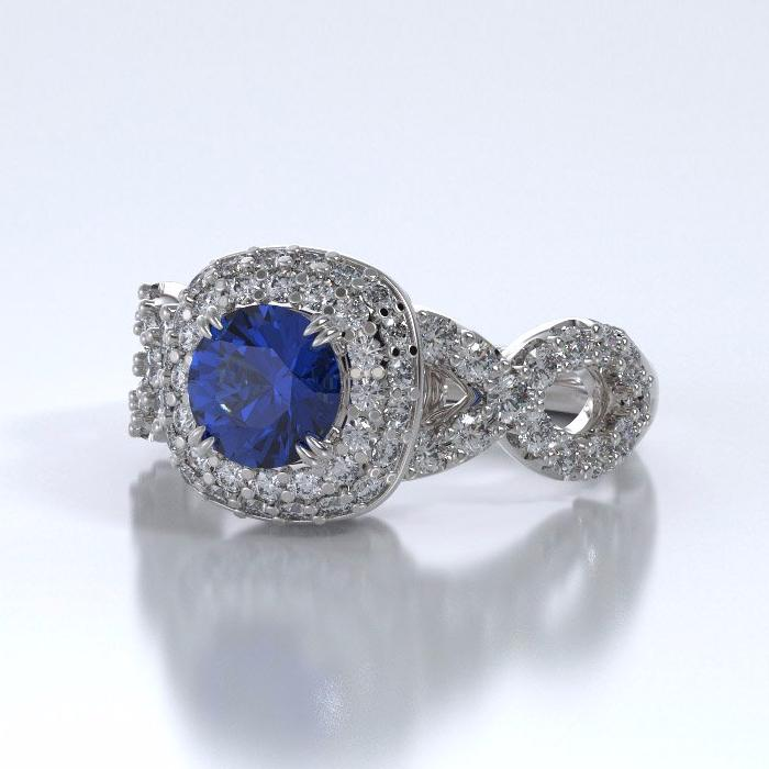 Memorial Jewelry - Diamants Entourant Ring in 18k White Gold with Blue Sapphire and Diamonds - Side