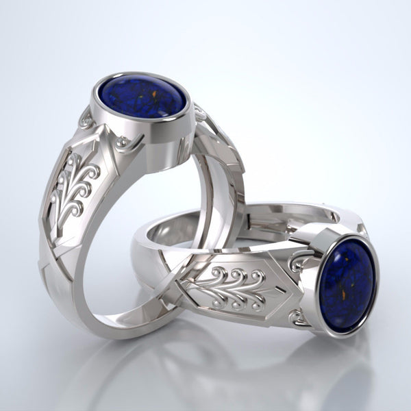 Men's Acanthus Cremation Ring in 18k white gold with blue lapis and platinum urn.