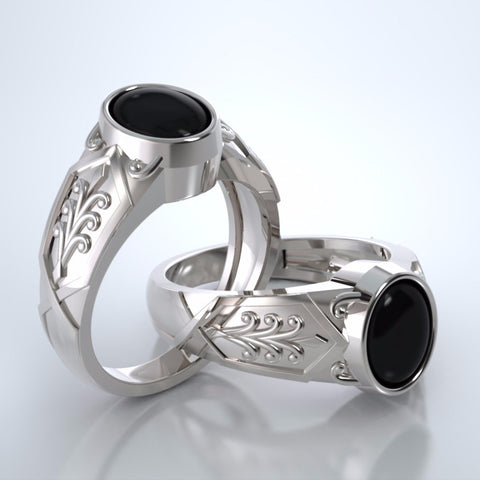 Men's Acanthus Ring in 18k White Gold with Black Onyx and Platinum Remembrance Pod