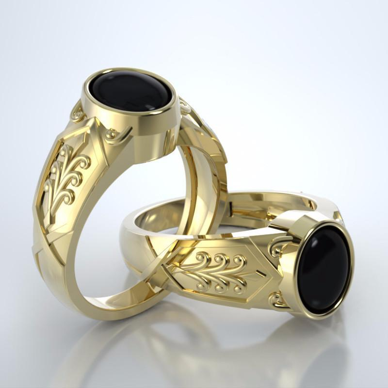 Men's Acanthus Cremation Ring in 18k Yellow Gold with Black Onyx and Platinum Urn