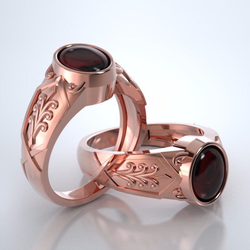 Men's Acanthus Ring in 18k Rose Gold with Garnet with Platinum Remembrance Pod