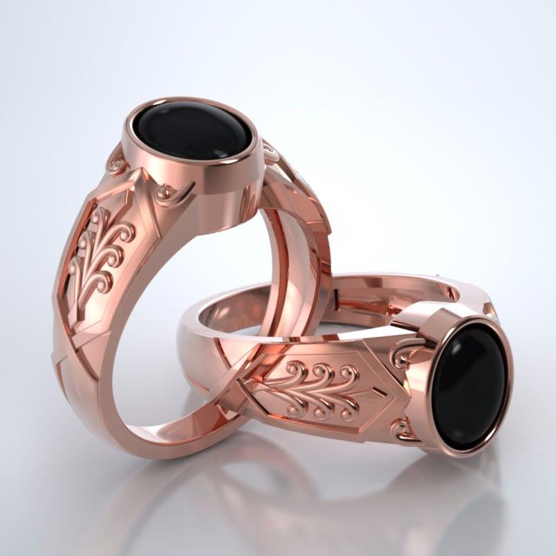 Men's Acanthus Cremation Ring in 18k Rose Gold with Cabochon Black Onyx