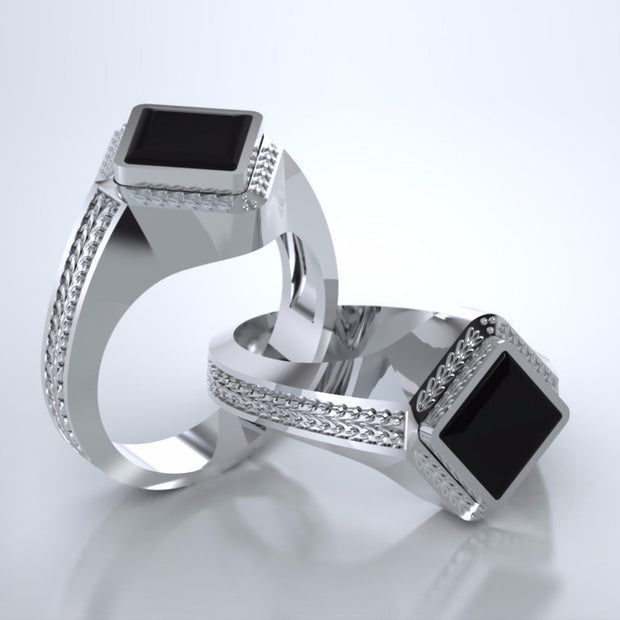 Memorial Jewelry - Apollo Ring in Platinum with Black Onyx