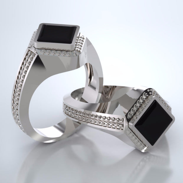 Men's Apollo Ring in 18k White Gold with Black Onyx and Platinum Urn