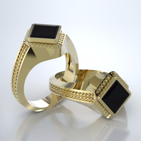 Memorial Jewelry - Apollo Ring in 18k Yellow Gold with Black Onyx