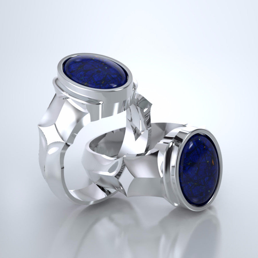 Men's Eros Cremation Ring in Platinum with Blue Lapis and Platinum Urn
