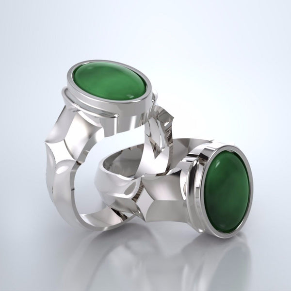 Men's Eros Cremation Ring in 18k White Gold with Jade and Platinum Urn