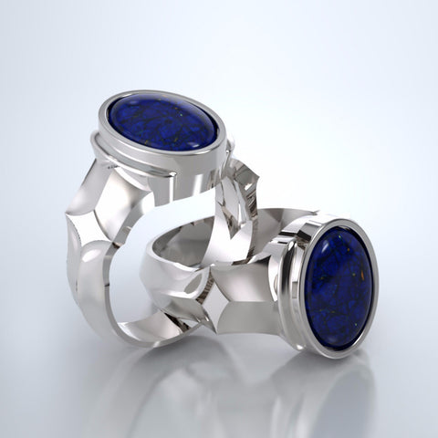 Men's Eros Cremation Ring in 18k White Gold with Blue Lapis and Platinum Urn