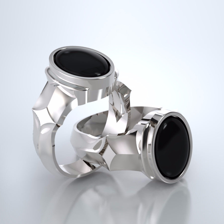 Men's Eros Cremation Ring in 18k White Gold with Black Onyx and Platinum Urn