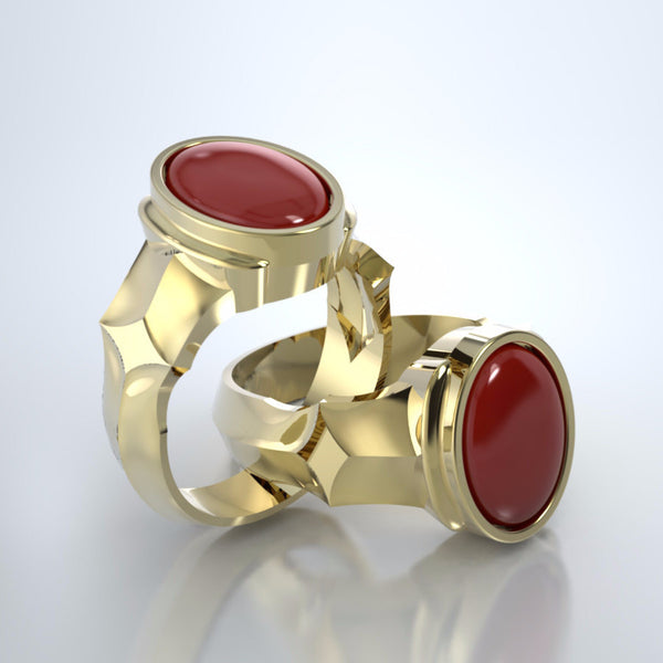 Men's Eros Cremation Ring in 18k Yellow Gold with Carnelian with Platinum Urn