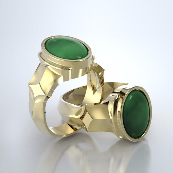 Men's Eros Cremation Ring in 18k Yellow Gold with Jade and Platinum Urn
