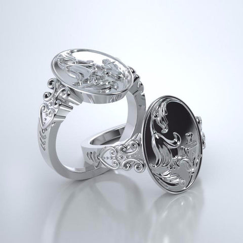 Memorial Jewelry - Lily of the Valley Ring in Platinum