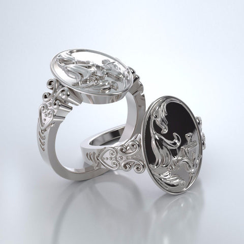 Memorial Jewelry - Lily of the Valley Ring in 18k White Gold
