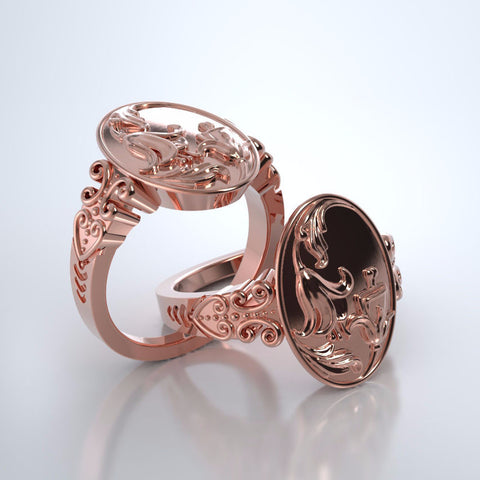 Memorial Jewelry - Lily of the Valley Ring in 18k Rose Gold