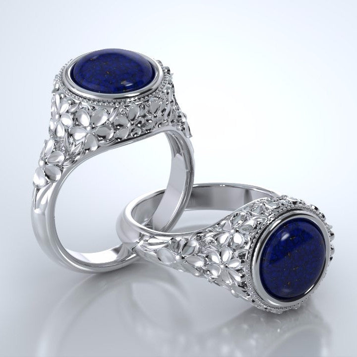 Memorial Jewelry - Forget-Me-Not Ring in Platinum with Blue Lapis