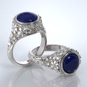 Memorial Jewelry - Forget-Me-Not Ring in 18k White Gold with Blue Lapis