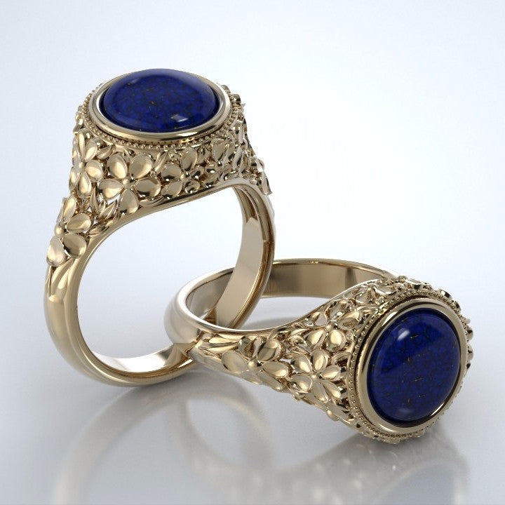 Memorial Jewelry - Forget-Me-Not Ring in 18k Yellow Gold with Blue Lapis