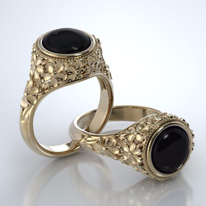 Memorial Jewelry - Forget-Me-Not Ring in 18k Yellow Gold with Black Onyx