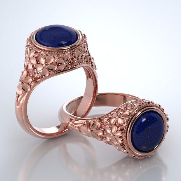 Memorial Jewelry - Forget-Me-Not Ring in 18k Rose Gold with Blue Lapis