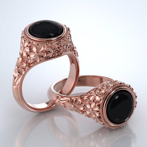 Memorial Jewelry - Forget-Me-Not Ring in 18k Rose Gold with Black Onyx