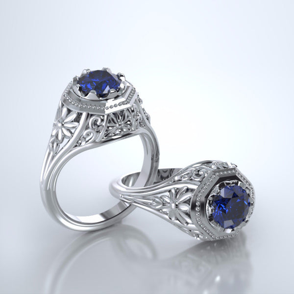 Memorial Jewelry - Daisy Ring in 18k Platinum with Blue Sapphire