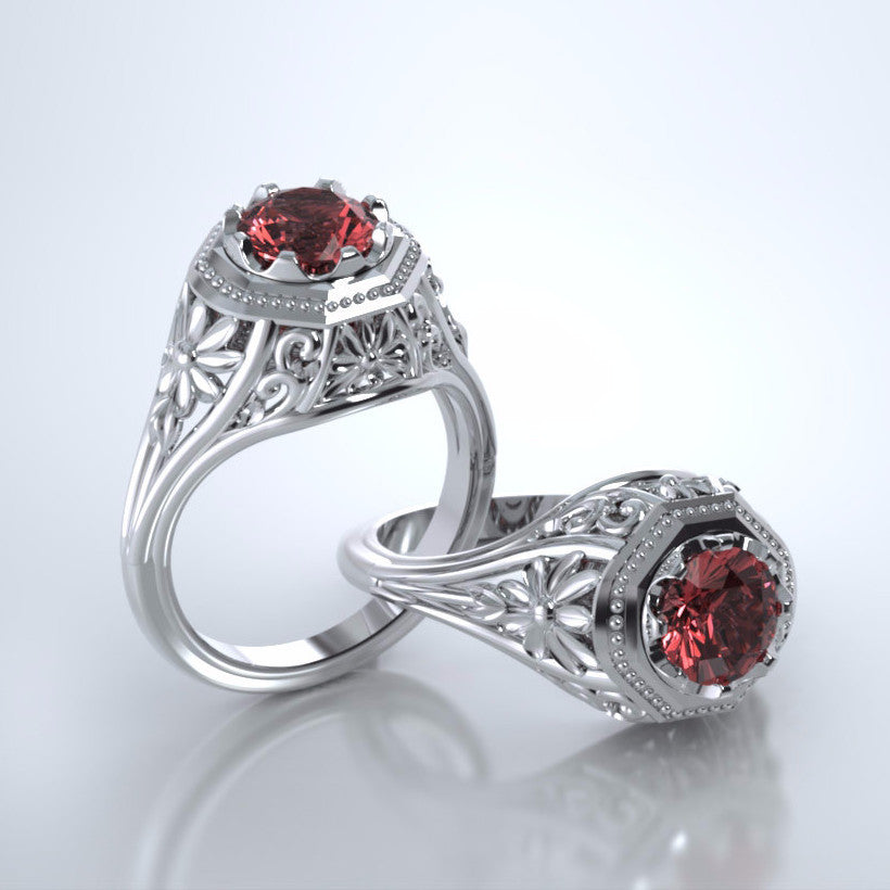 Memorial Jewelry - Daisy Ring in Platinum with Ruby