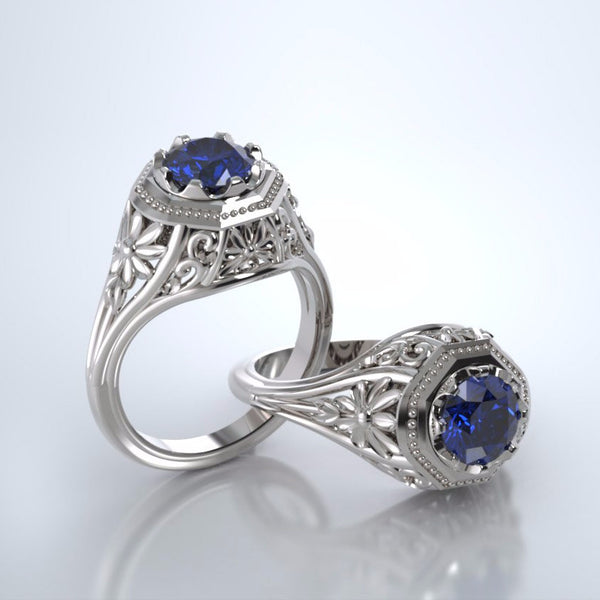 Memorial Jewelry - Daisy Ring in 18kWhite Gold with Blue Sapphire