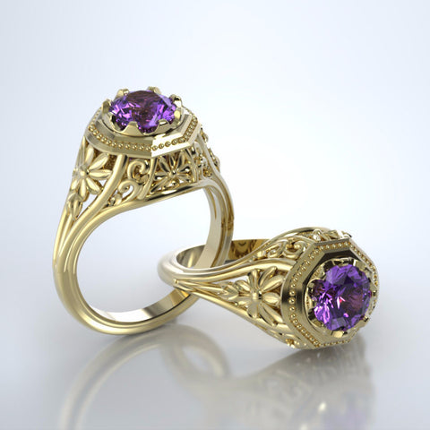 Memorial Jewelry - Daisy Ring in 18k Yellow Gold with Amethyst