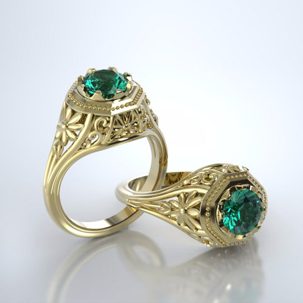 Memorial Jewelry - Daisy Ring in 18k Yellow Gold with Emerald