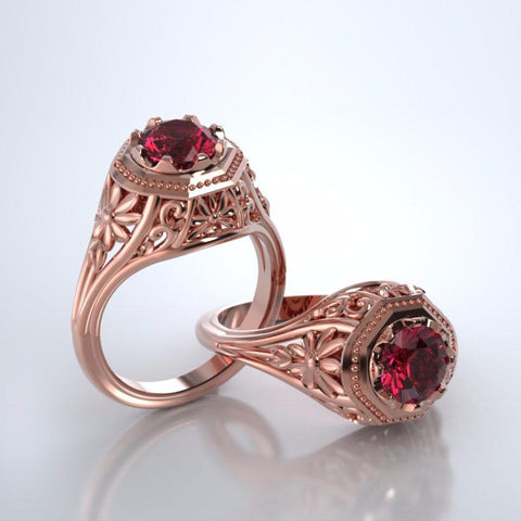 Memorial Jewelry - Daisy Ring in 18k Rose Gold with Mozambique Garnet