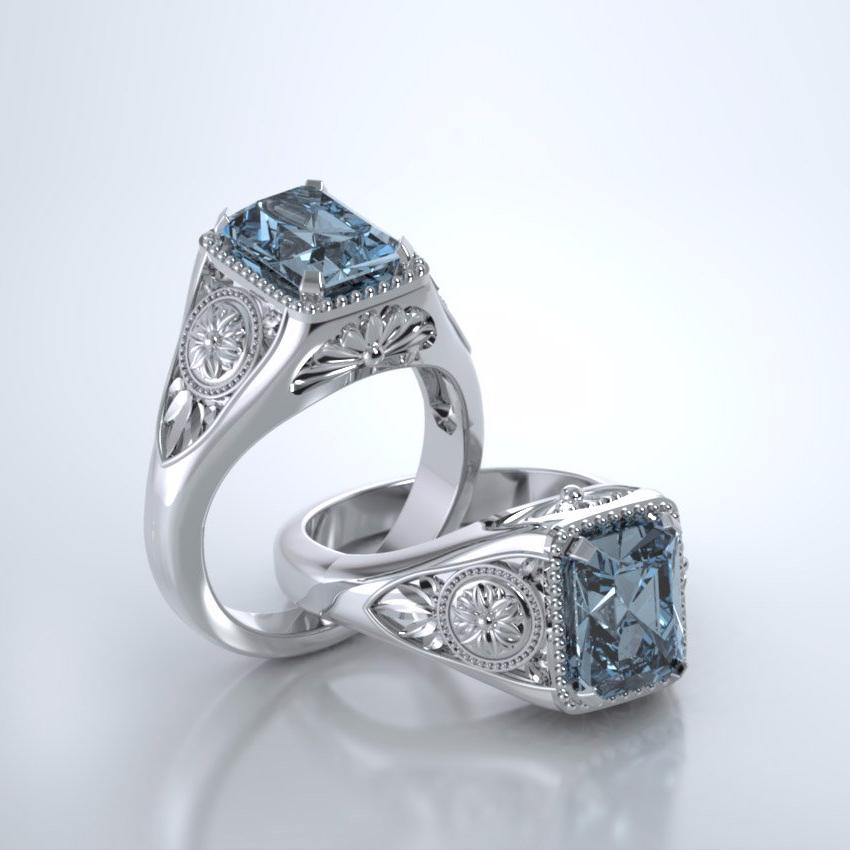 Memorial Jewelry - Lotus Ring in Platinum with Aquamarine