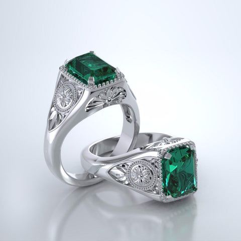 Memorial Jewelry - Lotus Ring in Platinum with Emerald