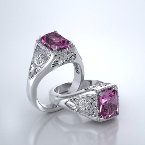 Memorial Jewelry - Lotus Ring in Platinum with Pink Tourmaline