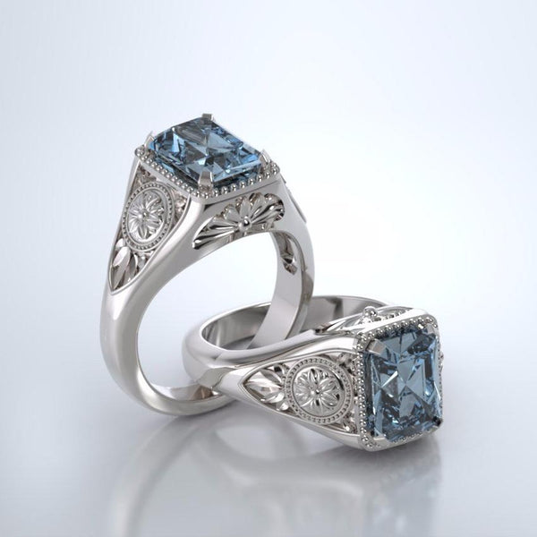 Memorial Jewelry - Lotus Ring in 18k White Gold with Aquamarine