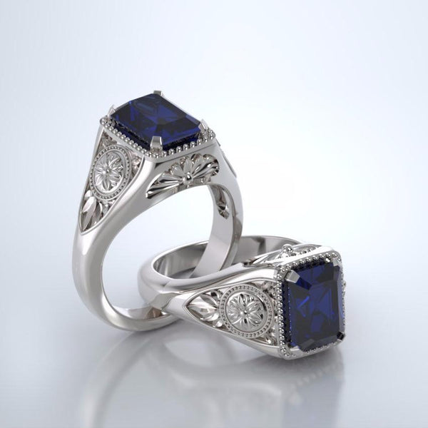 Memorial Jewelry - Lotus Ring in 18k White Gold with Blue Sapphire