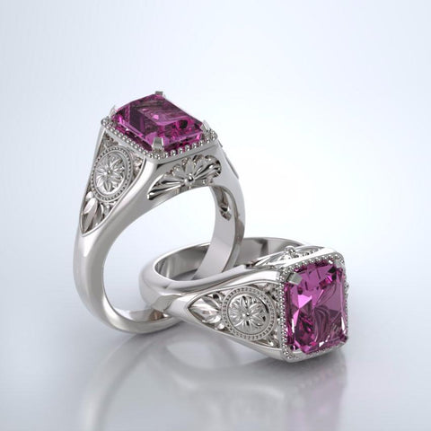 Memorial Jewelry - Lotus Ring in 18k White Gold with Pink Sapphire