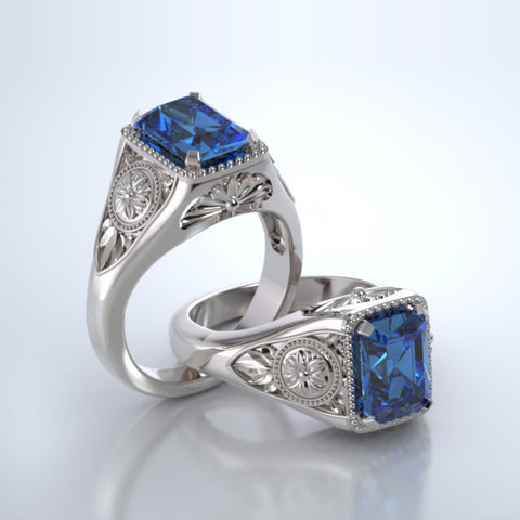 Memorial Jewelry - Lotus Ring in 18k White Gold with Blue Topaz