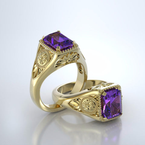 Memorial Jewelry - Lotus Ring in 18k Yellow Gold with Amethyst