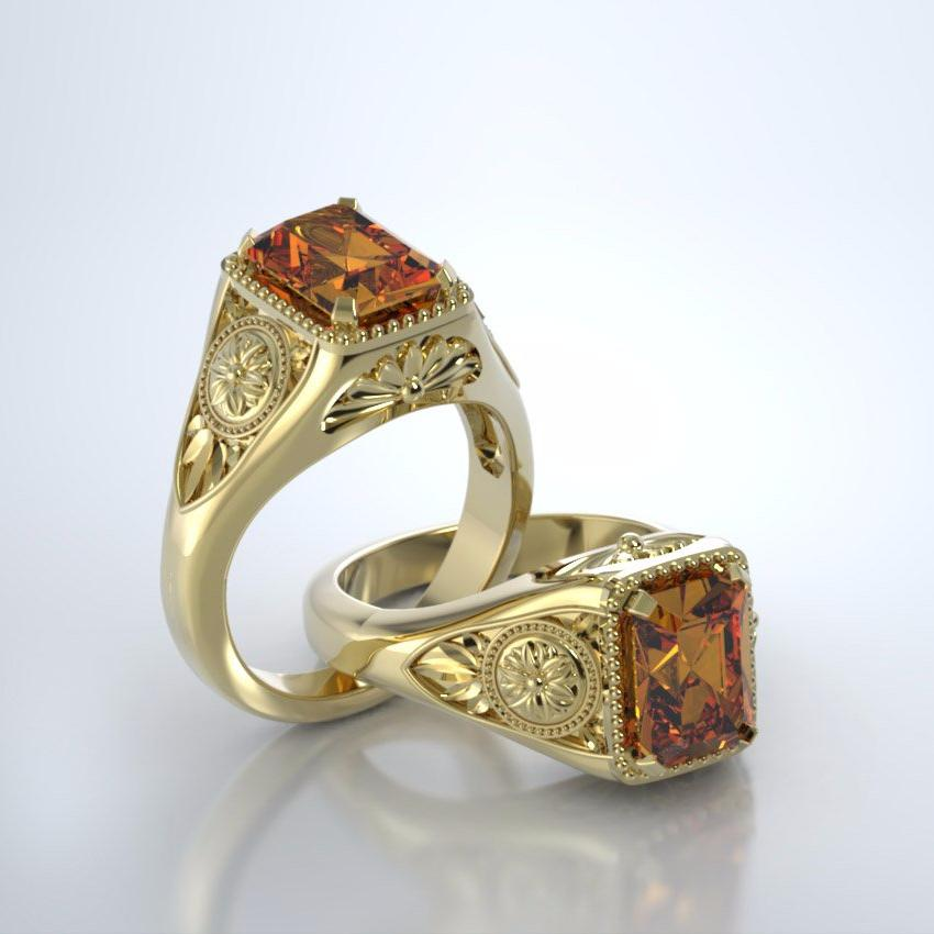 Memorial Jewelry - Lotus Ring in 18k Yellow Gold with Citrine
