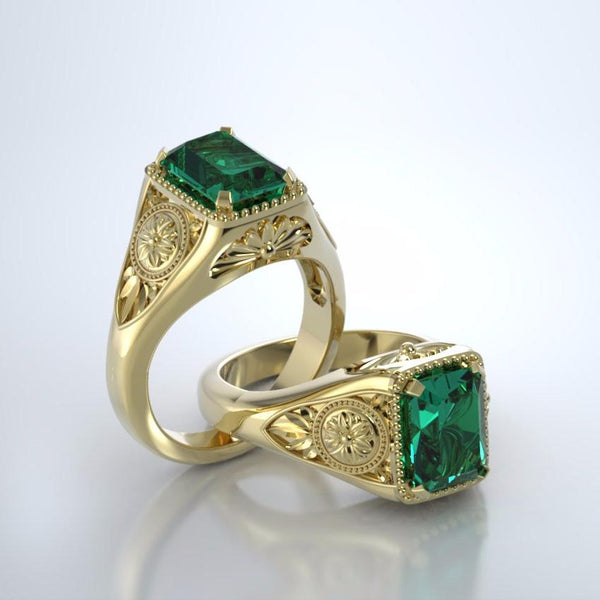 Memorial Jewelry - Lotus Ring in 18k Yellow Gold with Emerald