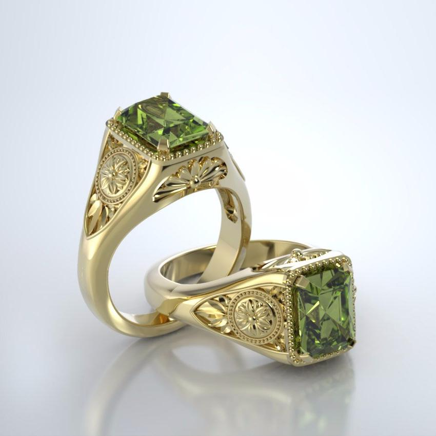 Memorial Jewelry - Lotus Ring in 18k Yellow Gold with Peridot