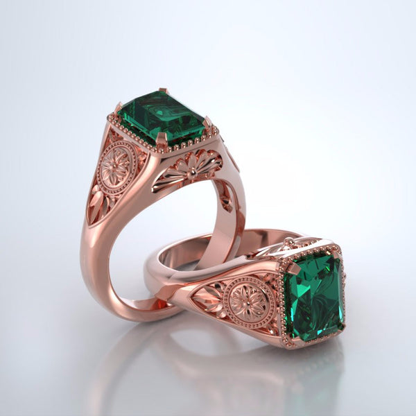 Memorial Jewelry - Lotus Ring in 18k Rose Gold with Emerald