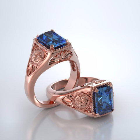 Memorial Jewelry - Lotus Ring in 18k Rose Gold with Blue Topaz
