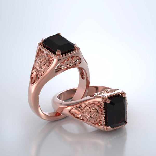 Memorial Jewelry - Lotus Ring in 18k Rose Gold with Mozambique Garnet