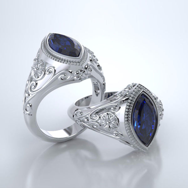 Memorial Jewelry - Cassandra Ring in Platinum with Blue Sapphire