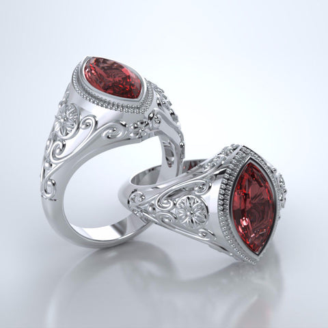 Memorial Jewelry - Cassandra Ring in Platinum with Ruby
