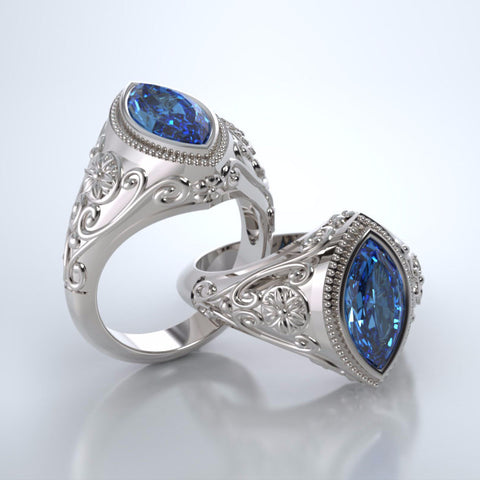 Memorial Jewelry - Cassandra Ring in 18k White Gold with Swiss Blue Topaz